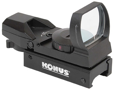 Konus 7374 Sight Pro MR dual rail Red Dot Rifle Scope/Hand gun sight--20mm diameter, 4-reticle, red